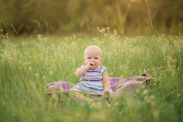 One year old milestone in flower field | Crestview Child Photographer